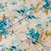 Parrots In Soft Rose Striped Viscose